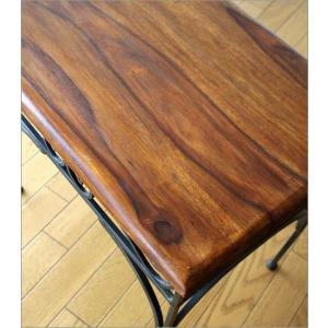 サイドテーブル 木製 おしゃれ ベッドサイドテーブル ソファサイドテーブル 花台 シンプル ナチュラル アジアン アイアンとシーシャムのネストテーブル L|gigiliving|03
