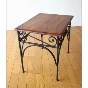 サイドテーブル 木製 おしゃれ ベッドサイドテーブル ソファサイドテーブル 花台 シンプル ナチュラル アジアン アイアンとシーシャムのネストテーブル L|gigiliving|05