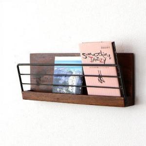 壁掛け 棚 ウォールラック 木製 アイアン レターラック 壁面収納 アイアンとウッドの壁掛けラック M|gigiliving