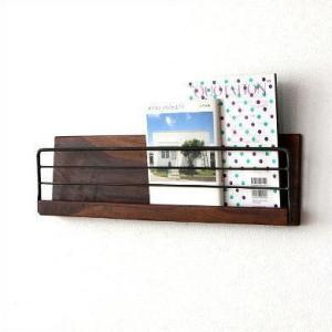 壁掛け 棚 ウォールラック 木製 アイアン レターラック 壁面収納 アイアンとウッドの壁掛けラック L|gigiliving