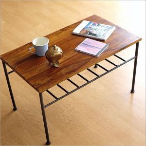 ローテーブル アイアン 無垢 天然木 木製 鉄脚 おしゃれ コーヒーテーブル シンプル アジアン 棚付き 長方形 シーシャムウッドとアイアンのローテーブル|gigiliving