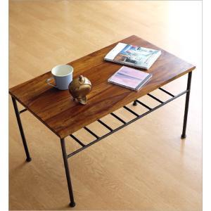ローテーブル アイアン 無垢 天然木 木製 鉄脚 おしゃれ コーヒーテーブル シンプル アジアン 棚付き 長方形 シーシャムウッドとアイアンのローテーブル gigiliving 02