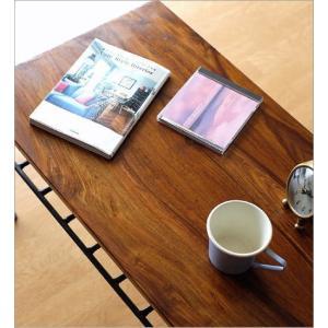 ローテーブル アイアン 無垢 天然木 木製 鉄脚 おしゃれ コーヒーテーブル シンプル アジアン 棚付き 長方形 シーシャムウッドとアイアンのローテーブル gigiliving 03