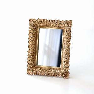 鏡 壁掛けミラー アンティーク ウォールミラー 壁掛け 卓上 おしゃれ レトロ エレガント クラシック アンティークゴールドのデコールミラー|gigiliving