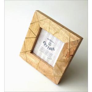 フォトフレーム おしゃれ 木製 正方形 天然木 写真立て 卓上 壁掛け ナチュラル モダン マンゴー&ブラスフォトフレームS gigiliving 02