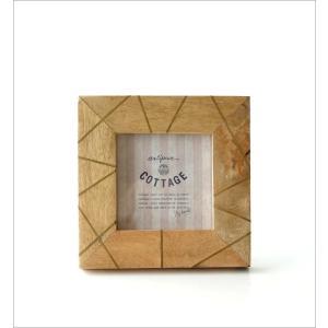 フォトフレーム おしゃれ 木製 正方形 天然木 写真立て 卓上 壁掛け ナチュラル モダン マンゴー&ブラスフォトフレームS gigiliving 05