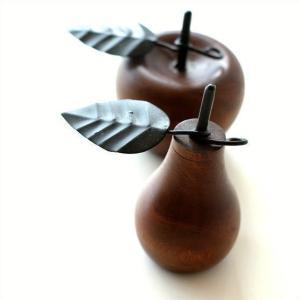 洋ナシ リンゴ 木製 置物 オブジェ インテリア 洋なし りんご デザイン 置き物 木 マンゴーウッドのオブジェ 2タイプ|gigiliving