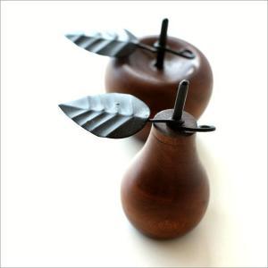 洋ナシ リンゴ 木製 置物 オブジェ インテリア 洋なし りんご デザイン 置き物 木 マンゴーウッドのオブジェ 2タイプ|gigiliving|02