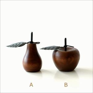 洋ナシ リンゴ 木製 置物 オブジェ インテリア 洋なし りんご デザイン 置き物 木 マンゴーウッドのオブジェ 2タイプ|gigiliving|04