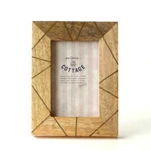 フォトフレーム おしゃれ 木製 L判 天然木 写真立て 卓上 壁掛け ナチュラル モダン マンゴー&ブラスフォトフレームL gigiliving
