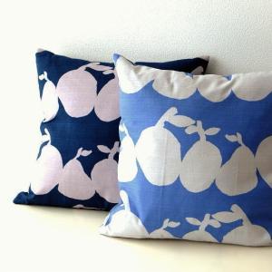 クッションカバー 45×45 綿100% コットン デザイン かわいい 正方形 洋ナシ おしゃれ モダン 日本製 ネイビー ブルー ペアズクッションカバー 2カラー