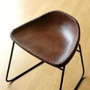 スツール アンティーク おしゃれ 椅子 いす イス チェア チェアー アイアンと本革のスツールB|gigiliving