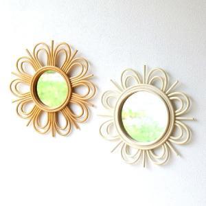 鏡 壁掛けミラー ラタン 籐 おしゃれ かわいい 可愛い ナチュラル ウォールミラー ラウンド サークル 丸い 丸型 円形 天然素材 ラタンフラワーミラー2カラー|gigiliving