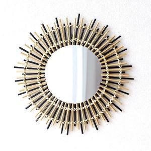 鏡 壁掛けミラー バンブー 竹 おしゃれ ナチュラル アジアン エスニック ウォールミラー 丸型 丸い 円形 サークル ラウンド バンブーサークルミラー|gigiliving