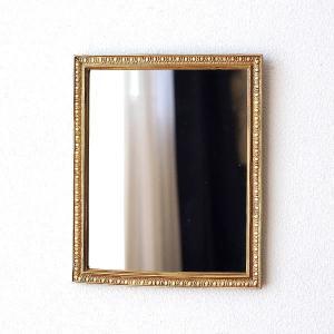 鏡 壁掛けミラー アンティーク おしゃれ ウォールミラー リビング 玄関 アンティークゴールドのレクタングルミラー|gigiliving