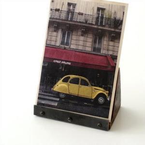 カードスタンド 木製 写真立て 卓上 おしゃれ アジアン モダン アンティーク シンプル 無垢 フォトスタンド シーシャムとアイアンのカードスタンド B|gigiliving