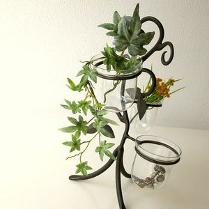 花瓶 花びん おしゃれ インテリア フラワーベース 花器 アイアンとガラスの3ポットベース|gigiliving