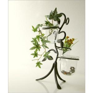花瓶 花びん おしゃれ インテリア フラワーベース 花器 アイアンとガラスの3ポットベース|gigiliving|02