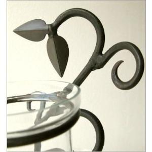 花瓶 花びん おしゃれ インテリア フラワーベース 花器 アイアンとガラスの3ポットベース|gigiliving|03