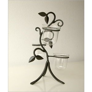 花瓶 花びん おしゃれ インテリア フラワーベース 花器 アイアンとガラスの3ポットベース|gigiliving|05