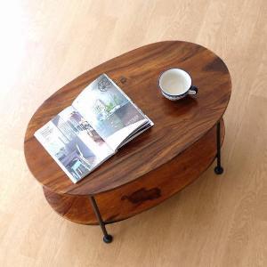 リビングテーブル 木製 アイアン シーシャムウッドオーバルテーブル|gigiliving