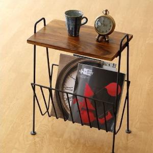 サイドテーブル 木製 おしゃれ スリム アイアン アンティーク マガジンラック ソファ シーシャムウッドのマガジンテーブル D|gigiliving