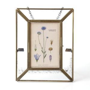 フォトフレーム ガラス 真鍮 写真立て おしゃれ アンティーク レトロ シンプル 壁掛け 卓上 L判 真鍮のガラスフォトフレーム|gigiliving
