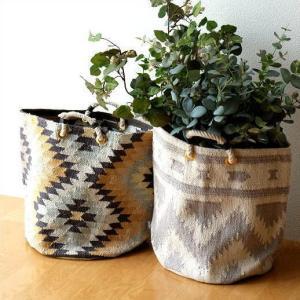 コットン素材で手織りの ネイティブ柄の室内用プランターカバー  リビングや玄関ホールの 観葉植物など...