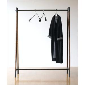 ハンガーラック 木製 アイアン 鉄製 シンプル アンティーク おしゃれ ハンガースタンド コート掛け 幅120 チークウッド&アイアンの洋服ラック|gigiliving|02
