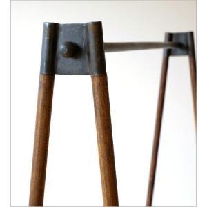 ハンガーラック 木製 アイアン 鉄製 シンプル アンティーク おしゃれ ハンガースタンド コート掛け 幅120 チークウッド&アイアンの洋服ラック|gigiliving|03