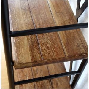 シェルフ 木製 アイアン 棚板 可動式 無垢 ウッドシェルフ 飾り棚 飾棚 ディスプレイラック 天然木 無垢材 シンプル アカシアウッドとアイアンの4段シェルフ gigiliving 04