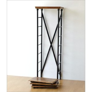 シェルフ 木製 アイアン 棚板 可動式 無垢 ウッドシェルフ 飾り棚 飾棚 ディスプレイラック 天然木 無垢材 シンプル アカシアウッドとアイアンの4段シェルフ gigiliving 05