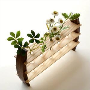 一輪挿し 木製 おしゃれ 花瓶 花びん インテリア 花器 ガラス管 試験管 天然木 デザイン フラワーベース moon-5 フラワースタンド|gigiliving