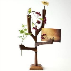 一輪挿し 木製 ガラス 花瓶 花びん カードスタンド カード差し 花入れ カードホルダー カードと一輪挿しのウッドスタンド|gigiliving