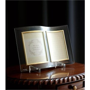 フォトフレーム ガラス 透明 写真立て フォトスタンド クリア おしゃれ 2面 2枚 2連 キャビネ 結婚祝い プレゼント ギフト ガラスのフレーム ウェーブ|gigiliving|02