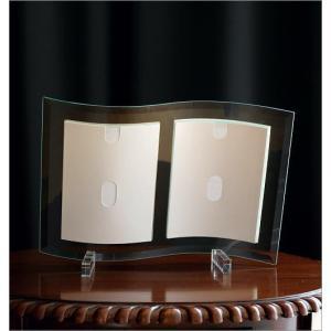 フォトフレーム ガラス 透明 写真立て フォトスタンド クリア おしゃれ 2面 2枚 2連 キャビネ 結婚祝い プレゼント ギフト ガラスのフレーム ウェーブ|gigiliving|04