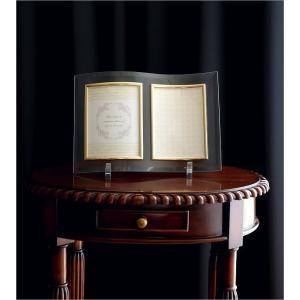 フォトフレーム ガラス 透明 写真立て フォトスタンド クリア おしゃれ 2面 2枚 2連 キャビネ 結婚祝い プレゼント ギフト ガラスのフレーム ウェーブ|gigiliving|05