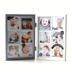 フォトフレーム ベビー 12ヶ月 赤ちゃん 壁掛け 卓上 写真立て かわいい 可愛い おしゃれ 北欧 複数枚 12枚 12窓 出産祝い 12ヶ月ベビーフレーム モノトーン