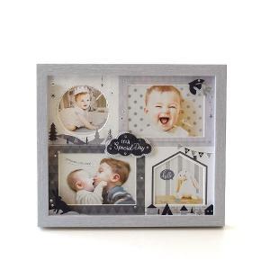 フォトフレーム ベビー 赤ちゃん 壁掛け 卓上 写真立て かわいい 可愛い おしゃれ 北欧 複数枚 4枚 4窓 出産祝い ギフト ベビー4窓フレーム モノトーン