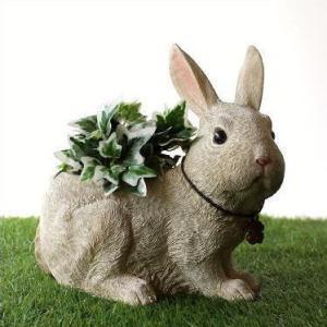 鉢 プランター おしゃれ うさぎ ウサギ 雑貨 置物 置き物 ガーデンオブジェ ラビット樹脂プランター|gigiliving