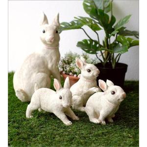 うさぎ 置物 ウサギ 家族 親子 インテリア 玄関 ガーデン オブジェ かわいい アニマル 動物 オーナメント 可愛い ディスプレイ ファミリーラビットの置物|gigiliving|02