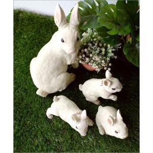 うさぎ 置物 ウサギ 家族 親子 インテリア 玄関 ガーデン オブジェ かわいい アニマル 動物 オーナメント 可愛い ディスプレイ ファミリーラビットの置物|gigiliving|03