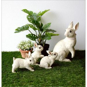 うさぎ 置物 ウサギ 家族 親子 インテリア 玄関 ガーデン オブジェ かわいい アニマル 動物 オーナメント 可愛い ディスプレイ ファミリーラビットの置物|gigiliving|05