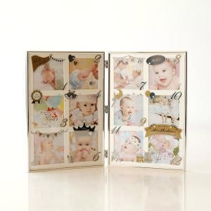フォトフレーム ベビー 赤ちゃん 12ヶ月 折りたたみ 卓上 壁掛け ガラス 写真立て おしゃれ ベビーフレーム アンノ|gigiliving