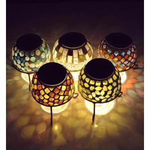 ソーラーライト おしゃれ 置き型 モザイクガラス ランプ かわいい 可愛い ソーラーモザイクガーデンライト5カラー|gigiliving|02