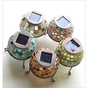 ソーラーライト おしゃれ 置き型 モザイクガラス ランプ かわいい 可愛い ソーラーモザイクガーデンライト5カラー|gigiliving|03