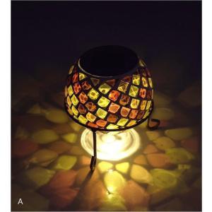 ソーラーライト おしゃれ 置き型 モザイクガラス ランプ かわいい 可愛い ソーラーモザイクガーデンライト5カラー|gigiliving|06