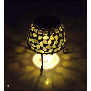 ソーラーライト おしゃれ 置き型 モザイクガラス ランプ かわいい 可愛い ソーラーモザイクガーデンライト5カラー|gigiliving|07