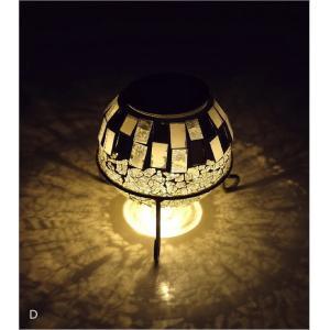 ソーラーライト おしゃれ 置き型 モザイクガラス ランプ かわいい 可愛い ソーラーモザイクガーデンライト5カラー|gigiliving|09