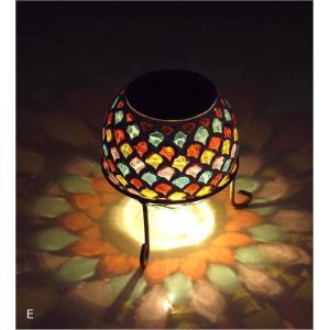 ソーラーライト おしゃれ 置き型 モザイクガラス ランプ かわいい 可愛い ソーラーモザイクガーデンライト5カラー|gigiliving|10